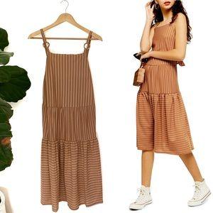 Topshop Sleeveless Striped Linen Midi Dress! NWT!
